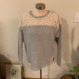 Gray sweater with cream lace floral detail